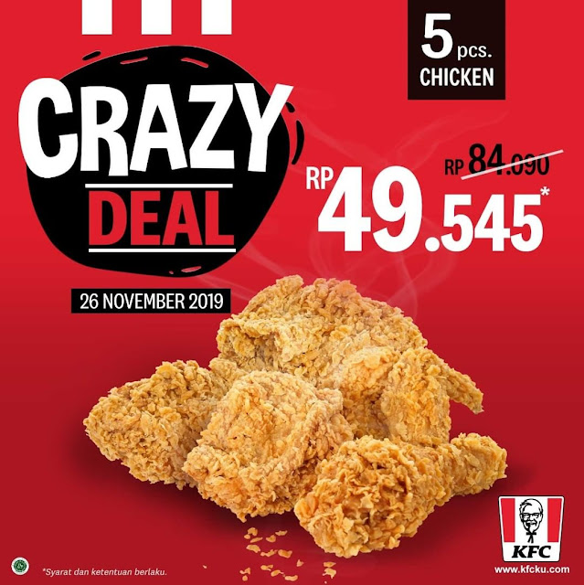 #KFC - #Promo Crazy Deal 5 PCS Ayam Hanya 49K (26 November 2019)