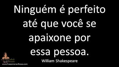 Ninguém é perfeito até que você se apaixone por essa pessoa. William Shakespeare