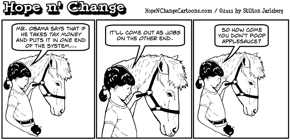 A girl speculates that if Obama's jobs program could work, her horse would poop applesauce if she give it enough apples, hopenchange, hope and change, hope n' change, stilton jarlsberg, tea party