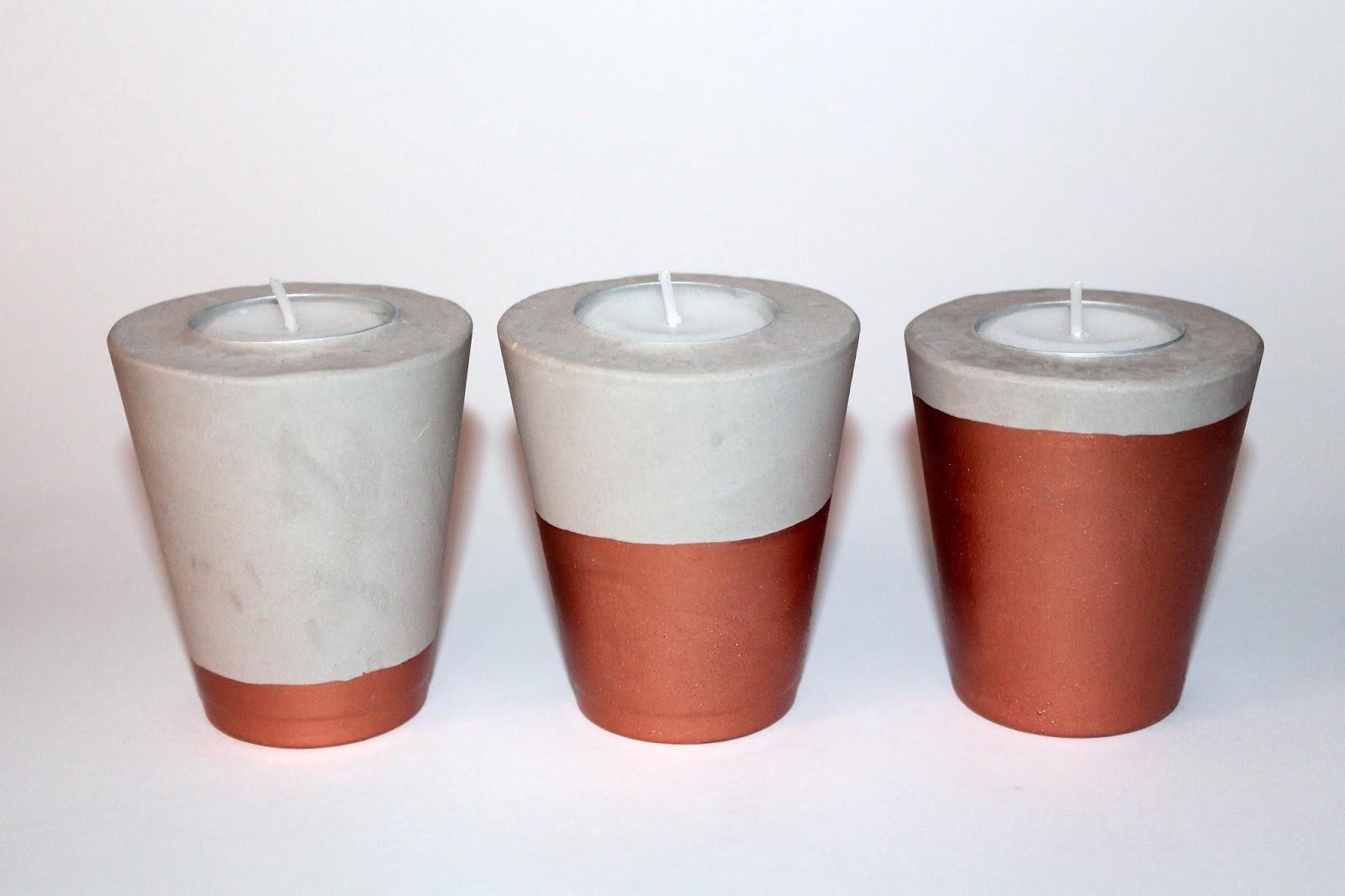 DIY, Basteln: Gips / Beton Teelichthalter in Kupfer als Dekoration - DIYCarinchen
