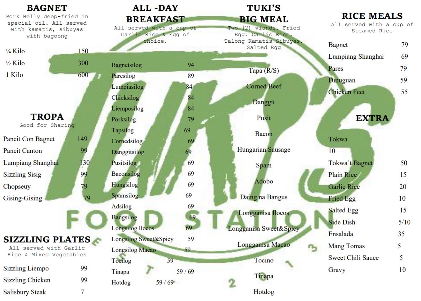 Menu of Tuki's Food Station in Manggahan, Pasig - WTF Review