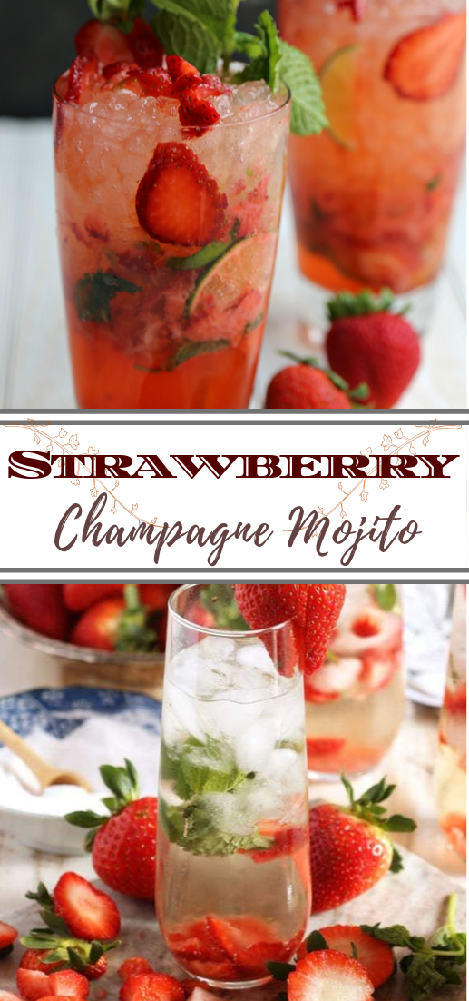 Strawberry Champagne Mojito  #healthydrink #easyrecipe #cocktail #smoothie