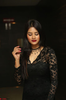 Actress Monica in spicy transparent Black Top at O Pilla Nee Valla Movie Audio Launch Feb 2017 158.JPG