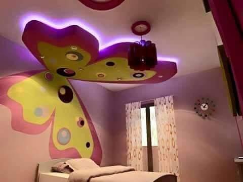 ديكورات جبس لغرف نوم الأطفال ديكور الفراشة الجبس حرفتي