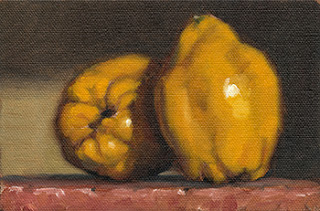 Still life oil painting of two quinces.