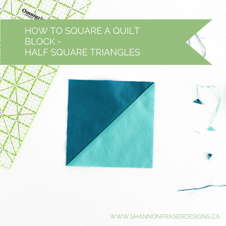 How to square a quilt block - Half Square Triangles | Shannon Fraser Designs #halfsquaretriangles #hst #tutorial
