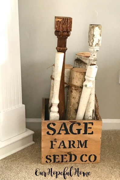 Sage Farm Seed Co. wooden box stenciled balusters