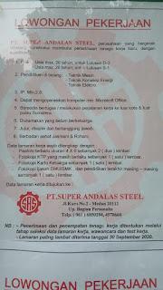Lowongan Kerja Medan SMA SMK D3 S1 S1 PT Super Andalas Steel September 2020