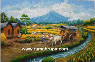 Lukisan Panen Padi dan Panen Raya di Sawah image