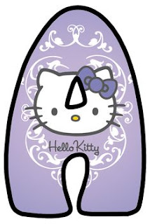Abecedario Lila con Cara de Hello Kitty. Lilac Alphabet with Hello Kitty Face.