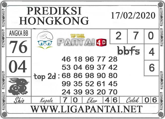 PREDIKSI TOGEL HONGKONG PANTAI4D 17 FEBRUARI 2020