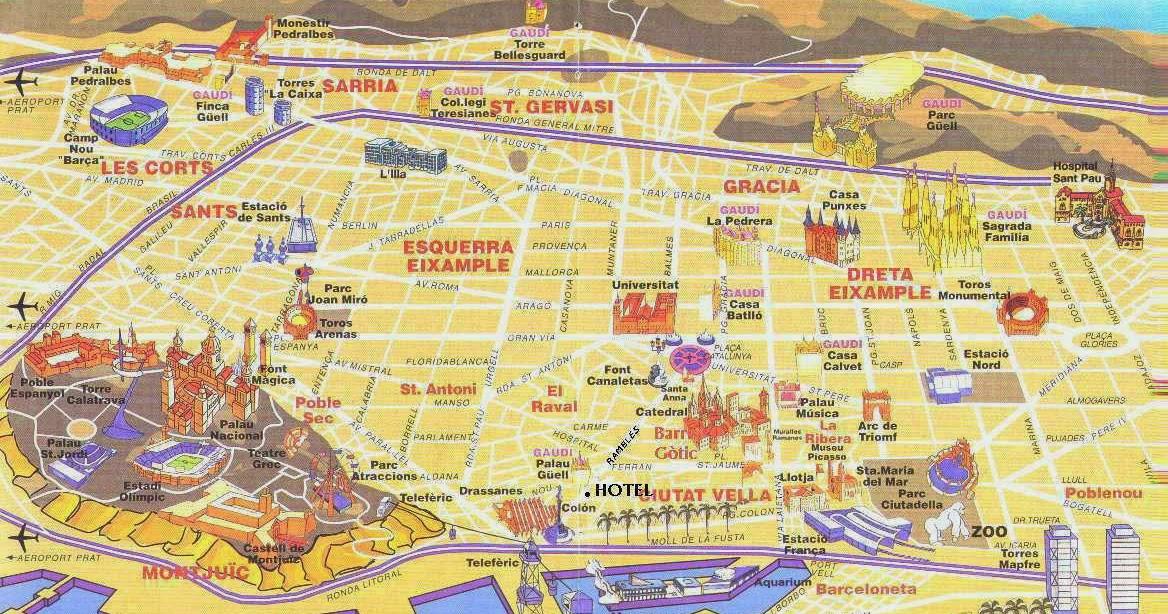 Cartina Quartieri Barcellona.Cosa Vedere Barcellona Turisti A Ogni Costo