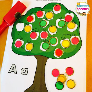 Freebie! Apple tree activity with dot markers or bingo chips. Perfect fall acticity for centers or small groups. www.speechsproutstherapy.com