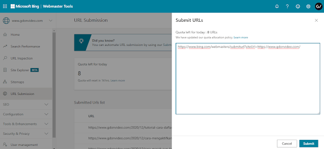 Tutorial Cara Submit Url Bing Webmaster Update Terbaru