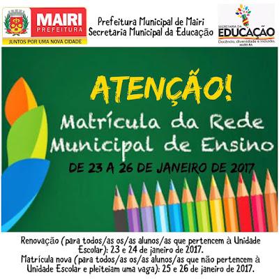 Matrículas da rede municipal de ensino de Mairi começam segunda (23)