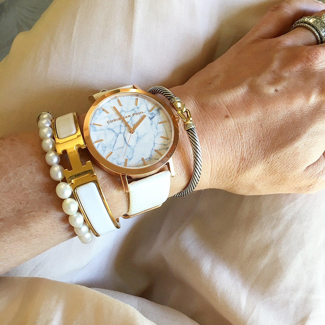 white hermes and pearls