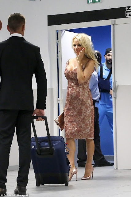 Pamela Anderson David Meister cocktail dress