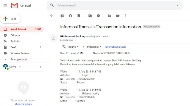 Cara Cek Mutasi Transaksi Rekening BRI di Internet Banking BRI - History Aktivitas Akses Internet Bankin BRI via Email
