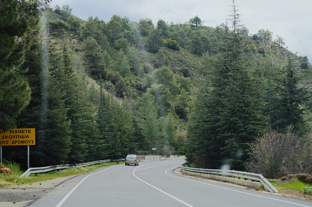 Driving to the Platres Village in Cyprus.