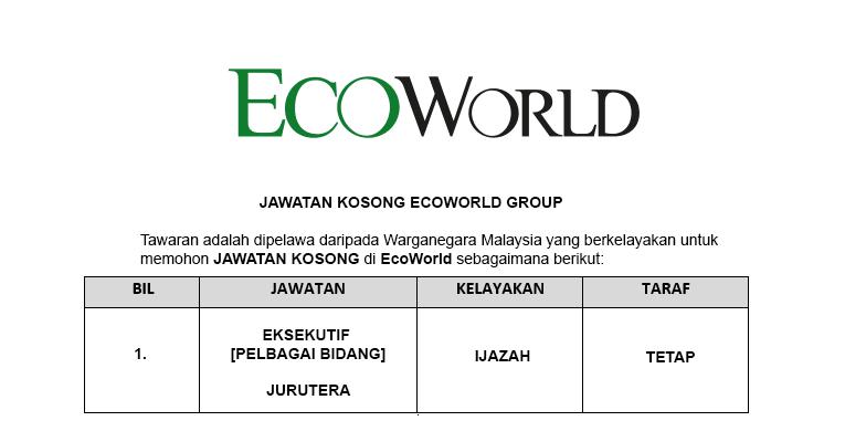 Eco World Development Group Berhad [ Jawatan Kosong Terkini ]