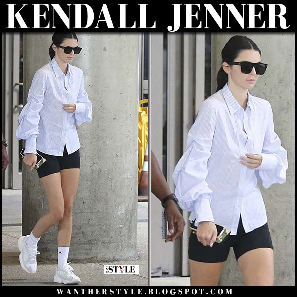Kendall Jenner in striped puff sleeve shirt jonathan simkhai model street style june 17