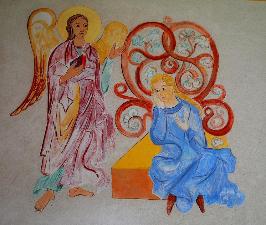 Annonce faite à Marie, centre de la  Fresque, réalisé par  les  apprentis Blain