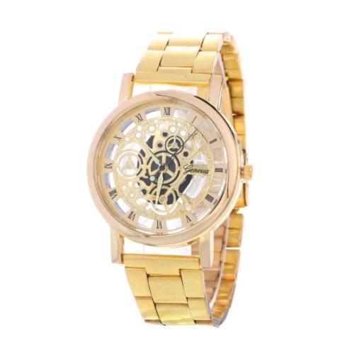 Brand New luxury Fashion Casual Men & Women Gold Watch Wristwatch Classic Style Mesh Belt Quartz Watches Engraving Hollow Design 2021