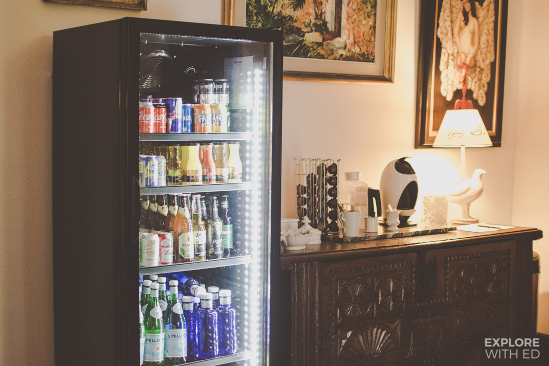Soft drinks, beers and coffee maker station