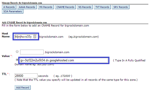 Adding Second CNAME Record In DNS Management Page