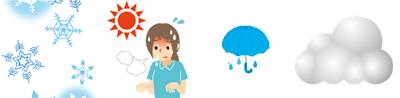 雪、暑夏、雨、曇り