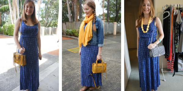3 ways to wear a blue printed maxi dress with yellow accessories awayfromblue