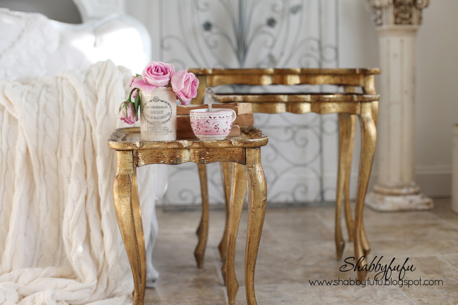 trio of gold florentine tables
