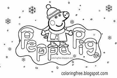 Happy Christmas Peppa pig coloring pages for preschool kids cute winter easy printable snow cartoons