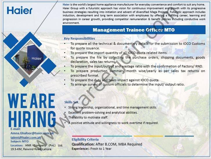 Haier Pakistan Jobs Management Trainee Officer MTO