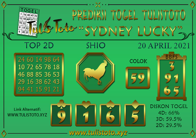 Prediksi Togel SYDNEY LUCKY TODAY TULISTOTO 20 APRIL 2021