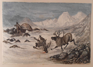 Watercolor of hunters and prey