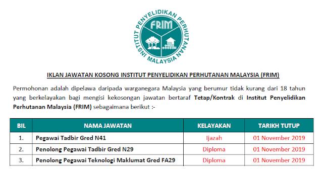 institut penyelidikan perhutanan malaysia 2019