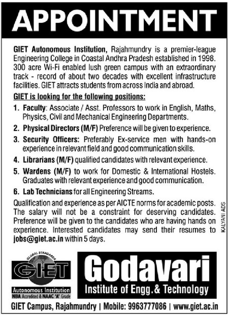 Godavari Institute of Engineering and Technology Wanted