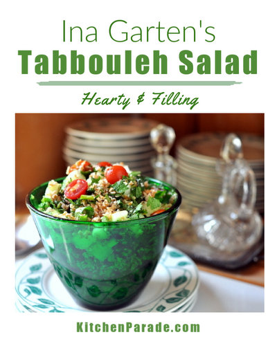 Ina Garten's Tabbouleh Salad, another fresh summer salad ♥ KitchenParade.com, starring bulghur wheat, cucumber, tomato, green onion, fresh parsley, fresh mint. Middle-Eastern Classic. Hearty & Filling. Great for Meal Prep. Vegan.