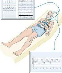 The most frequent type of sleep study for diagnosing sleep apnea is known as polysomnography, which is a sleep study regularly carried out in a sleep lab or sleep center. It records things like, the quantity of air that you breathe in and breathe out, blood pressure, eye movement, activity of your brain etc.