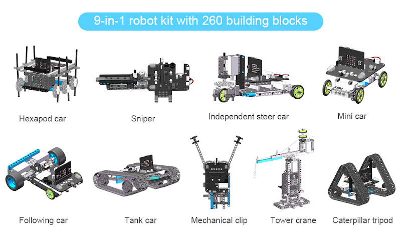 Yahboom Coding Robot 9 in 1 Building Blocks Kit