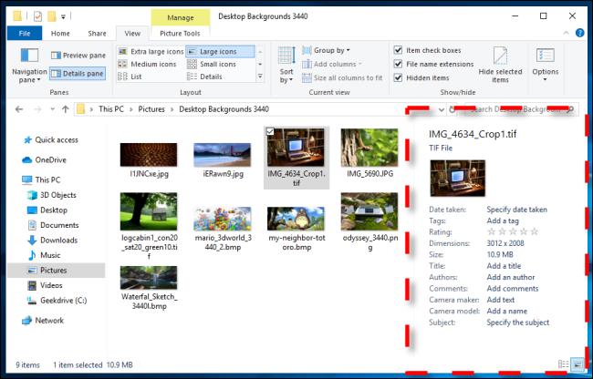 مثال على جزء التفاصيل في مستكشف ملفات Windows 10