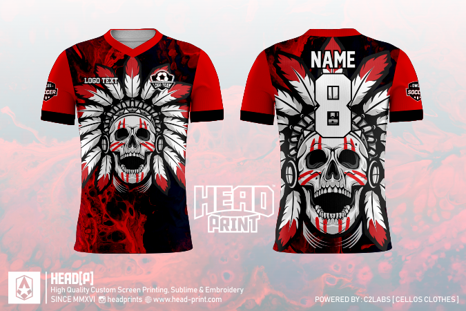 Indian Skull Jersey Full Print Custom - Jersey Futsal - Head Print Jersey