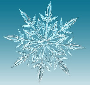 Ice Crystal on a Blue Background