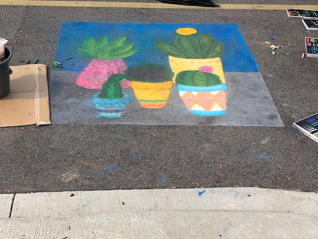 Lovely succulent chalk drawing at Art Infusion.