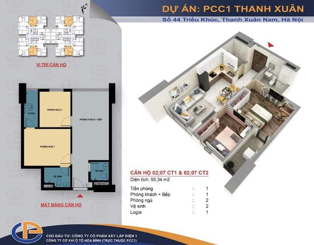 Mặt bằng căn hộ số 02 - 07 diện tích 55,34m2 chung cư PCC1 - 44 Thanh Xuân