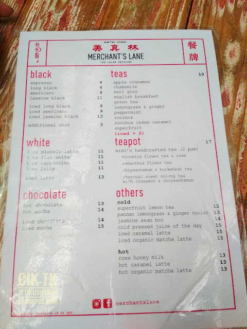 menu merchant's lane