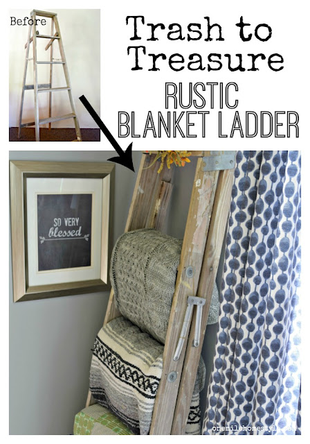 Don't throw away that old step ladder! See how this blogger turned a ladder destined for the trash into a beautiful blanket ladder!