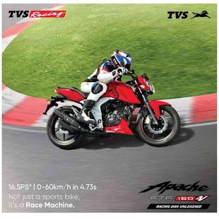 tvs apache rtr 160 4v mileage - top speed