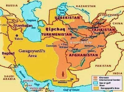 در این نقشه قلمرو سرحدات دولت ترکمنی قره قویونلی برنگ زرد سیر نشان داده شده است